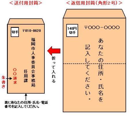 郵送請求の説明(封筒記載例)の画像